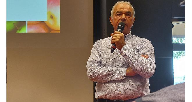 Daniel Sauvaître, président de l'ANPP, au lancement de la campagne pommes/poires 2021. Photo SB