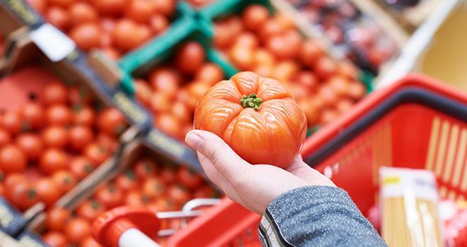 Même si les achats ont légèrement baissé sur un an (-0,5 %), la tomate reste sur le haut du panier des Français. Photo : Sergey Ryzhov/Adobe Stock