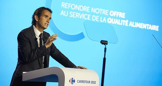 """Alexandre Bompard a présenté le plan de transformation """"Carrefour 2022"""" le 23 janvier. Photo : ArnaudFévrier - DR Carrefour"""