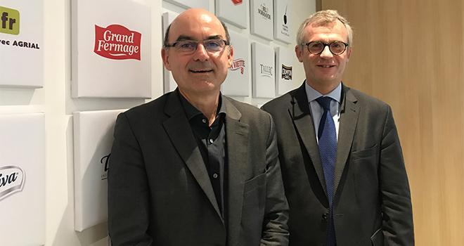 Arnaud Degoulet, à gauche, et Ludovic Spiers, respectivement président et directeur général d'Agrial, ont présenté le résultat de l'exercice 2018. CP : C.Lamy-Grandidier/Pixel6TM