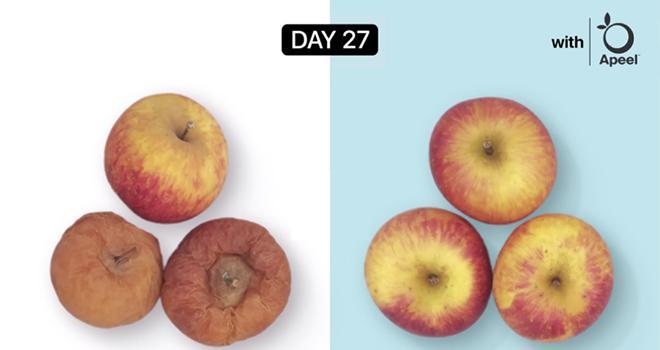 Selon la start-up américaine Apeel Sciences, le pulvérisation d'un revêtement sur les fruits permettrait de prolonger leur fraîcheur et ainsi de lutter contre le gaspillage alimentaire. Photo : Apeel Sciences.