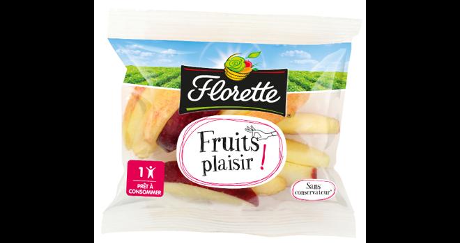 Selon l'étude, les fruits frais prédécoupés contribuent à augmenter la consommation de fruits auprès des enfants avec un format et une portion plus adaptés (sachet de 80g). Photo : Florette Food Service