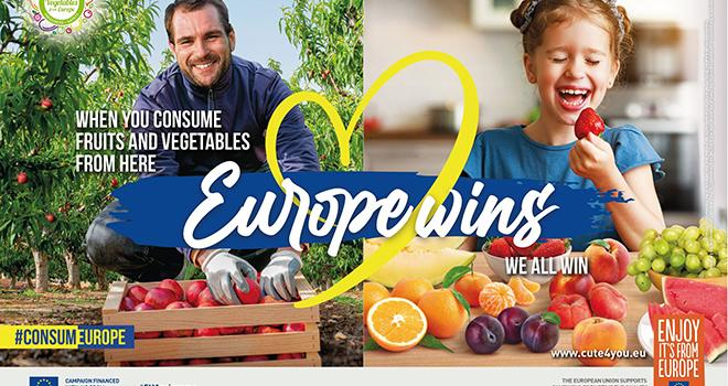 La campagne a pour slogan « Quand on consomme nos fruits et légumes, l'Europe gagne et nous gagnons tous ». Photo DR