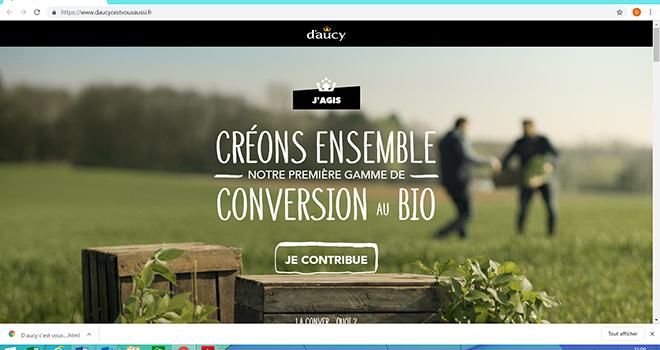 Grâce à la plateforme de collaboration directe « daucycestvousaussi.fr », le grand public pourra choisir certains critères entrant dans la conception de la gamme (le légume en conversion, l'emballage, le lieu de vente…). Photo : DR