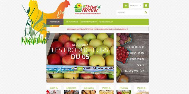 Exemple du site de vente en ligne du drive fermier des Hautes-Alpes.