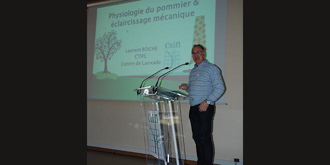 Laurent Roche, du CTIFL, a présenté l'incidence du retrait des feuilles et des fleurs lors de l'éclaircissage mécanique.