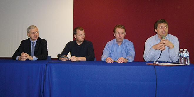 De gauche à droite : Xavier Gibut, directeur et co-fondateur de Labeliance Invest, Éric Timmerman, arboriculteur à Vion (72), Luc Barbier, président de la FNPF et de la SAS Arbo Avenir et Fabien Martel d'Eco Fruit Conseil.