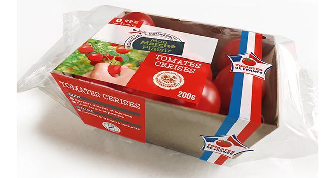 C'est sous sa marque propre « Mon Marché Plaisir » qu'Intermarché commercialise, depuis quelques semaines, des tomates cerises HVE produites en France. Photo : Intermarché