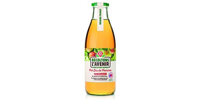 Le jus de pommes issu des vergers en conversion bio sera disponible dès février chez Leclerc. Photo : DR