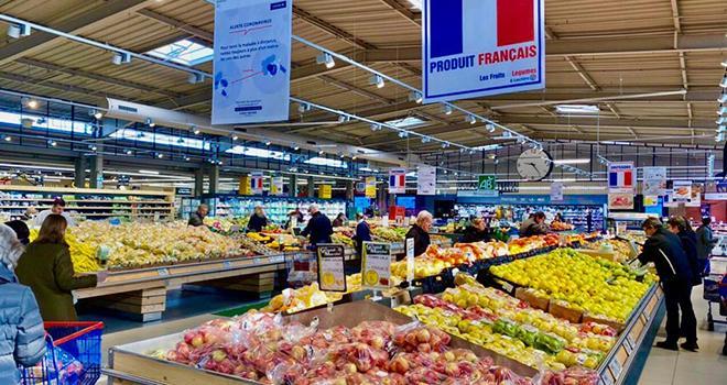 Depuis le 28 mars, les fruits et légumes français donnent droit à une réduction de 20% en Ticket E.Leclerc. Un ticket solidaire destiné à booster la vente des produits d'origine France. Photo : DR