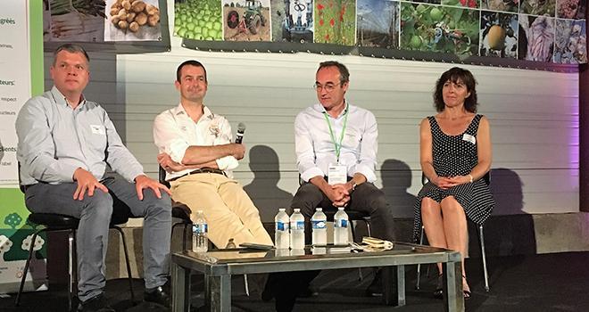 Table ronde lors de la journée technique 2019 à la Morinière, avec de g. à d. :  Marc-Henri Blarel, Pierre Varlet, Guy-Bernard Cordier et Sandrine Gaborieau. Photo : O.Lévêque/Pixel6TM