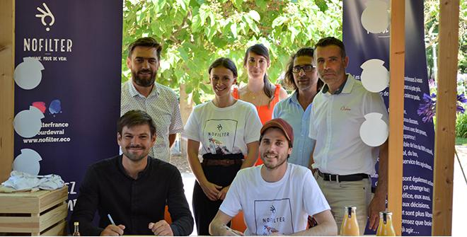 Signature de l'entrée au capital de NoFilter des coopératives Gerfruit, Kultive et Océane. Photo Végépolys Valley.