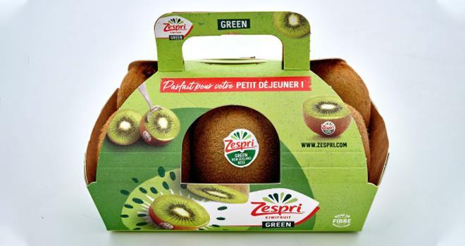 La gamme conventionnelle des kiwis Zespri est disponible chez Monoprix dans des emballages sans aucun plastique. CP : Zespri.