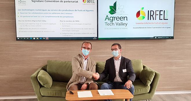 Jean-Michel Gallier (président d'AgreenTech Valley) et Vincent Schieber (président de l'Irfel), le 30 juin dernier à Orléans. Photo AgreenTech Valley