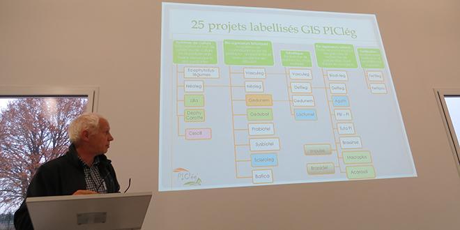 Benoît Jeannequin (Inra Montpellier) co-animateur du directoire opérationnel du GIS Piclég avec Vincent Faloya (Inra Rennes), présente la liste des projets.