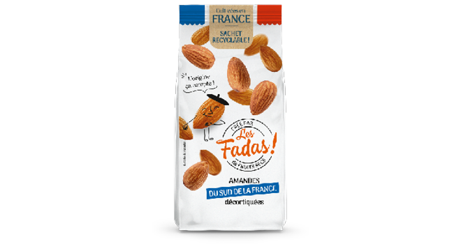 Le sachet de 125g d'amandes décortiquées Origine France est vendu autour de 3,95 euros. Photo Color Foods