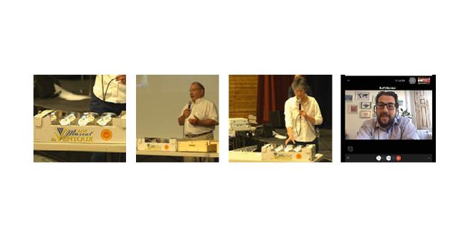 René Reynard, président de l'AOP Muscat du Ventoux ; Danièle Marchadier, directrice générale Dynaplast ; Raffi Schieir, directeur Europe Bantam Materials (POP).