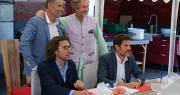 Haut, de g. à d. : Laurent Bergé, président de l'AOPn tomates et concombres de France; Louis-Albert de Broglie, propriétaire du Château de la Bourdaisière. En bas : Arnaud Lebert, en charge de la Recycleraie; et Benoit Pierre, directeur du CESR.