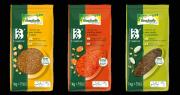 La gamme Pépites de Bonduelle Food Service se compose de trois références : lentilles corail/carottes, pois chiches/maïs, et pois cassés/courgettes. Photos : DR