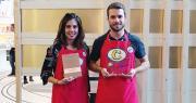 Pauline Berthonneau et Kevin Singer ont reçu le grand prix Sial Innvovation (catégorie espoir) pour leur surprenante tablette de légumes Cocasse. Photo : DR