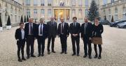 Les présidents, directeurs et directrices des quatre structures fondatrices du collectif de la Troisième Voie accueillis à l'Élysée. Photo : DR