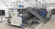 Système de fabrication de solutions nutritives, incluant une désinfection UV ainsi que cinq stations de fabrication et cinq stations fertilisantes, pour le CTIFL de Carquefou. Photo : Divatec