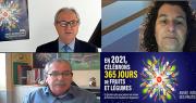 Laurent Grandin, Christel Teyssedre,et Jacques Rouchaussé, lors des voeux 2021 d'Interfel, Aprifel et Ctifl.