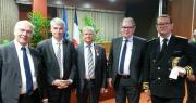 Joseph Rousseau, au centre, entouré (de gauche à droite) par Marc Le Fur, député des Côtes-d'Armor, Olivier Allain, vice-président du conseil régional de Bretagne, Alain Cadec, président du conseil départemental des Côtes-d'Armor et Yves Le Breton, préfet des Côtes-d'Armor.