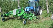 Mercredi 13 mai, la société Souslikoff est venue livrer sa première bineuse à 10 pomiculteurs de Haute-Vienne, pour étudier l'entretien mécanique d'une quarantaine d'hectares sur la campagne 2015. Photo : Syndicat de Défense de l'AOP Pomme du Limousin.