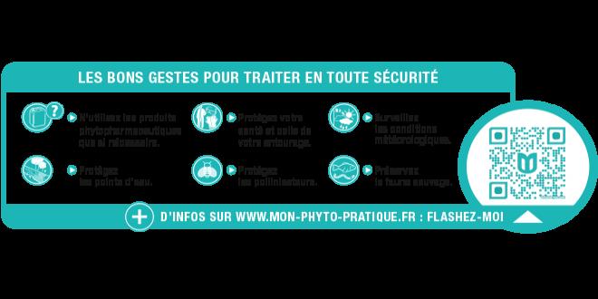 Le guide d'étiquetage des produits phytopharmaceutiques à usage professionnel propose un encadré « Bonnes pratiques » dont le QRcode pointe vers le site UIPP « www.mon-phyto-pratique.fr ». Photo : DR