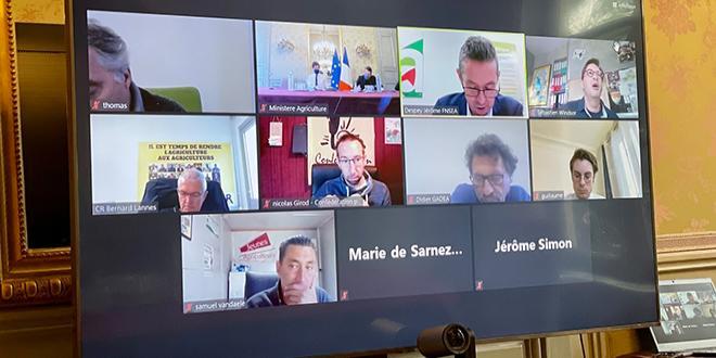 Ce vendredi 9 avril matin, le ministre de l'agriculture Julien Denormandie fait le point avec les organisations professionnelles agricoles suite à l'épisode de gel. Photo Twitter, @J_Denormandie