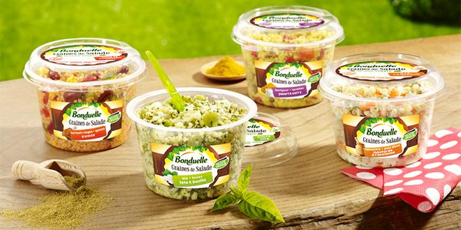 """Bonduelle a lancé récemment une nouvelle gamme """"graines de salade"""" avec 4 recettes de salades repas 100 % veggies."""