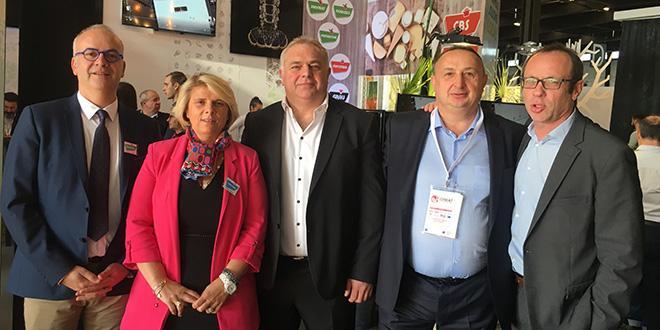 O. Chagnon (directeur Sainfruit), S. Méric (directrice Sobomar Atlantique), Y. Kerdraon (dir. gal des ventes Réseau Le Saint), P. Parnadeau (dir. Pons Primeurs) et L. Vichard (dir. Garonne Fruits, Garonne Marée, Garonne Volaille).
